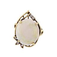 Australian Opal 5.70ct Ring Swirl 14k Gold Diamond
