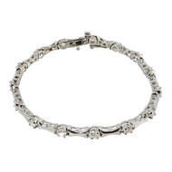 Estate Diamond Hinged Link Bracelet 1.60ct 14k White Gold