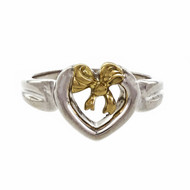 Tiffany & Co Heart Bow Ring Sterling Silver 18k Yellow Gold