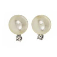 Estate 1960 8mm Cultured Pearl Earrings 14k Gold Diamond