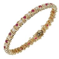 Estate Fine Ruby Diamond Bracelet 14k Yellow Gold