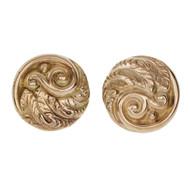 Art Nouveau Retro Gold Round Earrings 14k Gold