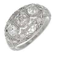 Vintage 1930 Platinum Filigree Dome Ring Old European Cut Diamonds