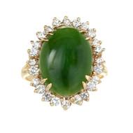 Vintage 1960 GIA Certified Nephrite Fade Ring Diamond 14k Gold
