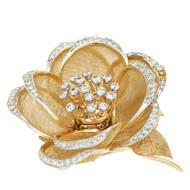 Vintage 1950 French En Tremblant Rose Flower Pin 18k Gold Diamond