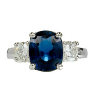 Peter Suchy 3.24ct Oval Blue Sapphire Engagement Ring Platinum Diamond