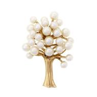 Cultured Pearl Tree Pin 14k Yellow Gold