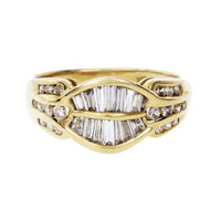 Estate Dome Ring Channel Set Round Tapered Baguette Diamonds 18k Gold