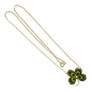 Victorian 1900 4 Leaf Clover Pendant Hand Enamel Natural Pearl 14k Gold