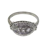 Vintage 1950 Marquise Shape Ring 14k White Gold Diamond