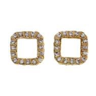 Estate 1970 Bar Set Diamond Square Earrings 14k Yellow Gold