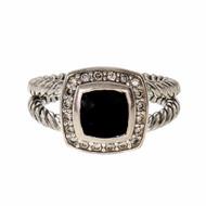 Estate David Yurman Black Onyx Albion Ring Petite Silver Split Shank