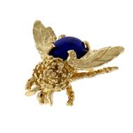 Estate Lapis Bee Pin 14k Yellow Gold