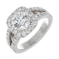 Peter Suchy 1.50ct  Round Diamond Engagement Ring Platinum Split Shank