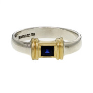 Tiffany & Co Square Sapphire Ring 18k Yellow Gold & Silver