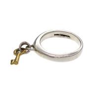 Tiffany & Co Key Dangle Ring Silver 18k Yellow Gold