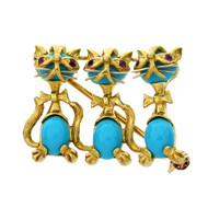 3 Cat Pin Turquoise Ruby 18k Yellow Gold