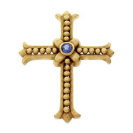 Natural Sapphire Cross Pendant 18k Gold FAY