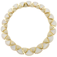 Gemlok Diamond Mother of Pearl Gold Necklace