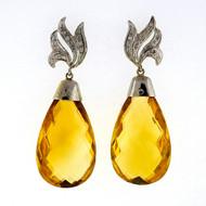 Vintage 1950 55.00ct Yellow Citrine Briolette 14k White Gold Dangle Earrings