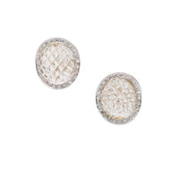 Italian 18k Quartz Crystal Diamond Earrings