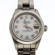 Ladies Rolex Datejust 69173 Refinished Mother Of Pearl Diamond Dial Oyster Band