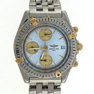 Breitling Chronomat 18k Steel D10347 Automatic Date Rare Silver Dial