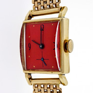 Retro 1940 Rectangular Watch 14k Mesh Band Refinished Orange Dial