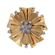 1960 Vintage Tiffany 14k Yellow Gold Folded Ribbon .70ct Diamond Pin
