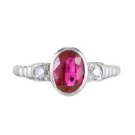 Art Deco 1940 .80ct Blood Red Oval Natural Ruby Platinum Diamond Ring