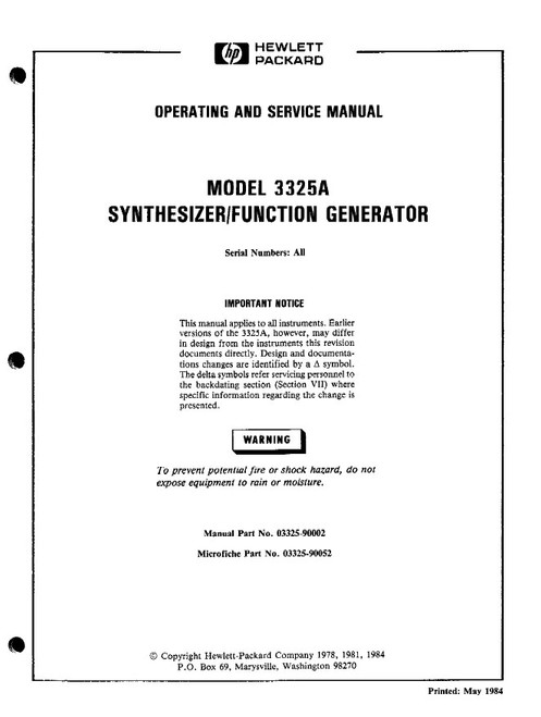 3325A Synthesizer/Function Generator, Operating and Service Manual ...