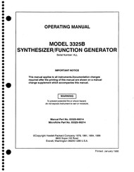3325B Synthesizer/Function Generator, Operating Manual | HP Agilent Keysight