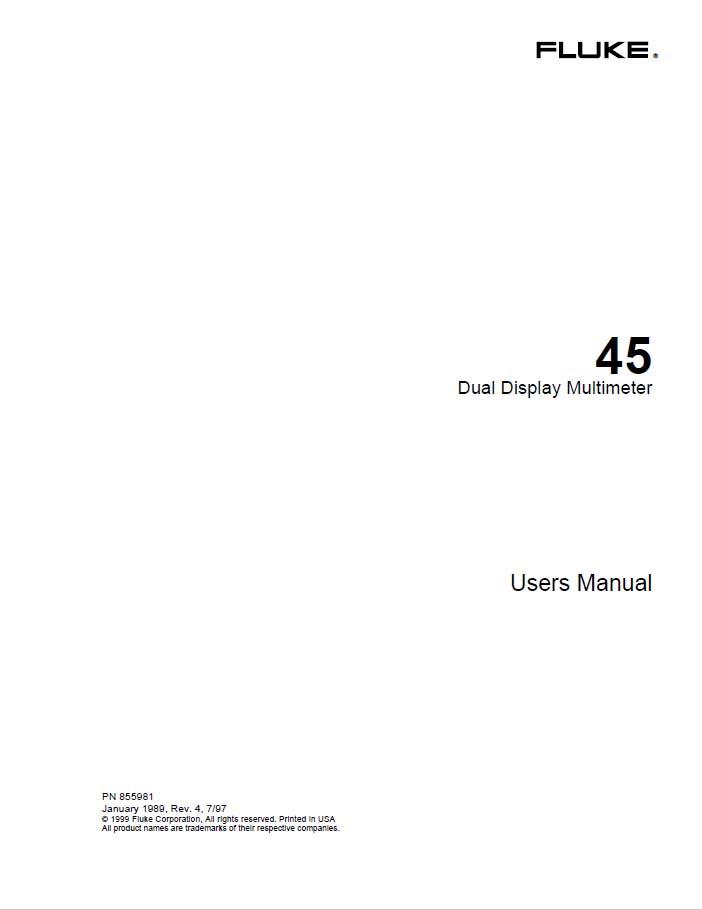 45 dual display multimeter  users manual fluke fluke ti 45 user manual Fluke 787 User Manual