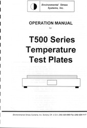T500 Series Temperature Test Plates, Operation Manual | Environmental Stress Systems, Inc.