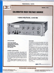 1570 Calibrated High Voltage Source, Technical Data | Power Designs
