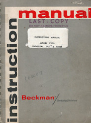 7370 Universal EPUT & Timer, Instruction Manual | Beckman