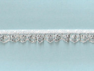 White & Silver Metallic Edge Ruffled Lace Trim - .75'' (WS0034U01)