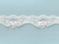 White Scalloped Stretch Lace Trim With Beads and Sequins  - 1.62'' (WT0158U01)