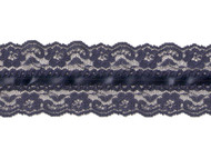 "Navy Blue Galloon Lace with Ribbon and Crochet Stitch - 2.5"" - (NB0212U01)"