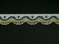 "White & Gold Edge Lace Trim - 0.625"" (WG0058E01)"