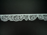 "White & Silver Metallic Ruffled Lace Trim - 1.25"" (WS0114U01)"