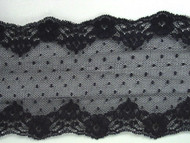 """Navy Blue Galloon Lace Trim - 3.75"""" (NB0334G02)"""
