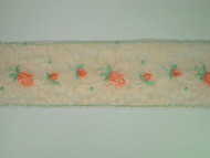 "Beige & Rose Insertion Lace Trim w/ Embroidered Pink & Green Rose - 2.25"" (MC0214U01)"