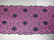 "Black & Mauve Galloon Stretch Lace Trim - 6.75"" (MC0634G01)"