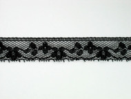 "Black Edge Lace Trim - 0.75"" (453 yards) (BK0034E07W)"