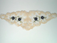 "Beige Netting Yoke w/ Navy rose embroidery - 7.5"" x 2.75"" (APY008)"