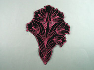 "Black & Light Rose Embroidered Satin Applique - 7.625"" x 5.5"" (APM078)"