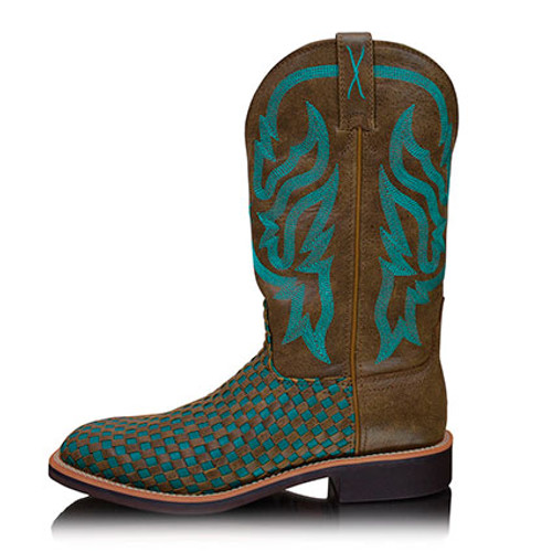 Twisted X Women's Top Hand Western Boots in Brown Turquoise
