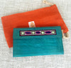 Leather embroidered wallet Aqua Blue/green