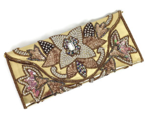 Swarowski, crystals and Diamante encrusted superb Evening Clutch in Gold and Bronze.